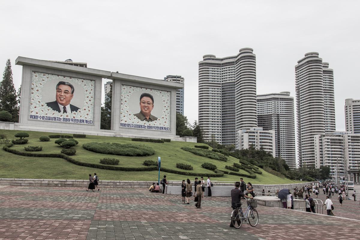 Straatbeeld in Pyongyang in Noord-Korea